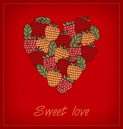 Sweet love  Template with berries and heart for greeting cards, wedding cards, crafts, gifts Stock Vector - 15506128