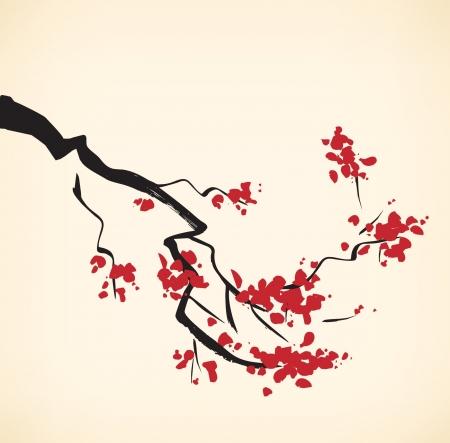 벚꽃 나무 가지. 사쿠라. 지독한