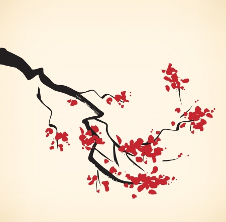 Cherry tree branch. Sakura. Blooming  Illustration