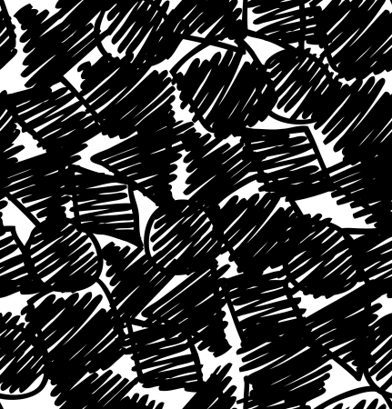 Grunge black abstract background. Sketch hand drawn seamless pattern. Endless texture with circles, squares and others figures, Can be used for wallpaper, pattern fills, web page background, surface textures