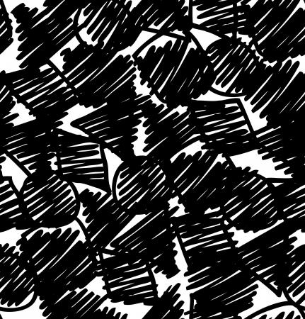 Grunge zwarte abstracte achtergrond. Schets de hand getrokken naadloos patroon. Eindeloze textuur met cirkels, vierkanten en andere figuren, Kan gebruikt worden voor behang, patroon vult, webpagina achtergrond, oppervlaktestructuren