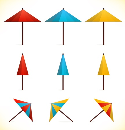 sunshades: Set of umbrellas. Sunshades. Parasols. Icons. Collection of pictograms