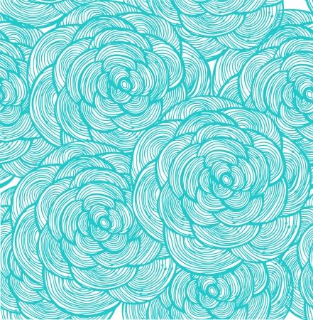 Turquoise lineaire bloemen achtergrond Stock Illustratie