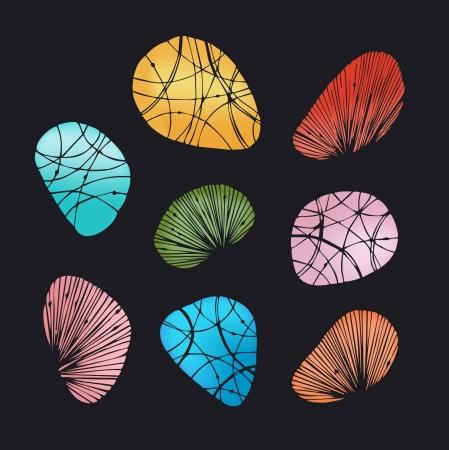 orange rose: Multicolor shining decorative stones and shells.
