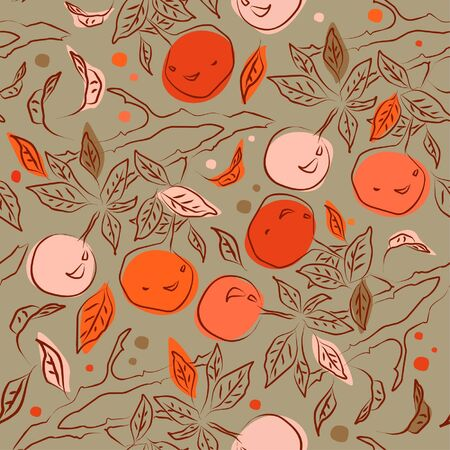 Summer seamless pattern with orange branches  Decorative floral background can be used for wallpaper, pattern fills, web page, surface textures  Gorgeous endless floral backdrop  Vector