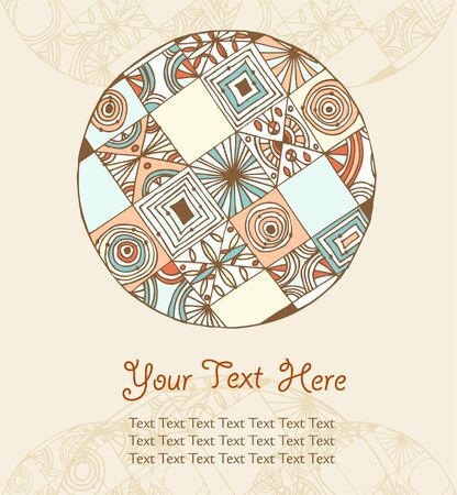 Hand drown country background with place for text  Can use for greeting cards, gifts, arts  Vintage decorative round elements  Lace doily Vector