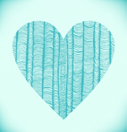 pleat: Heart with rows of turquoise vertical folders
