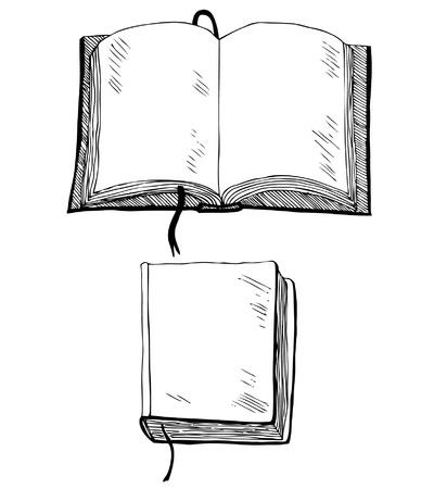 libro caricatura: Bosquejo del libro de ahogar a mano ilustración con la cubierta vacía y una plantilla de las hojas de los libros de historietas, álbumes de recortes, libros de texto, cuadernos de dibujo, elementos de cuadernos escolares