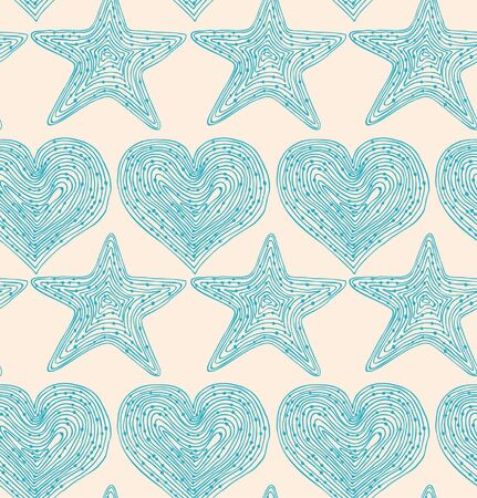 Bright blue seamless pattern with hearts and stars. Hand drawn linear texture. Design template for wallpapers, textile, clothes, web pages background Vector
