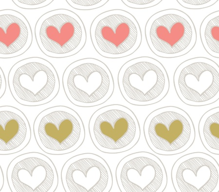 Brigth seamless pattern with hearts in circles. Abstract background with many decorative elements. Colorful cute texture Vector