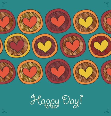 Card with seamless rows of hearts in circles. Abstract dercorative elements for design. Happy childish hand drawn template Vector