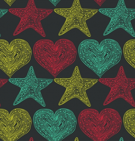 Colorful endless pattern with hearts and stars. Hand drawn linear texture. Design template for wallpapers, textile, clothes, web pages background Vector