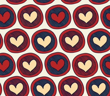 Endless pattern with hearts in circles. Abstract background with many decorative elements. Colorful cute texture Vector