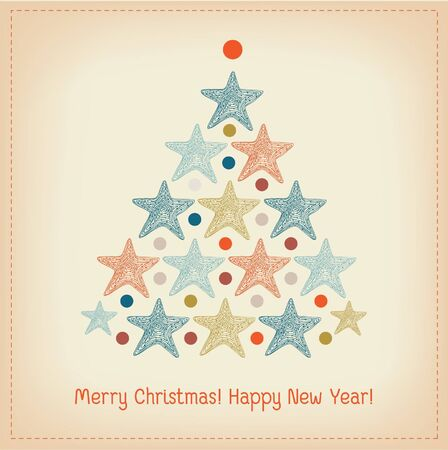 Winter decorative background for design greeting card. Illustration of Christmas tree with stars and place for text Illustration
