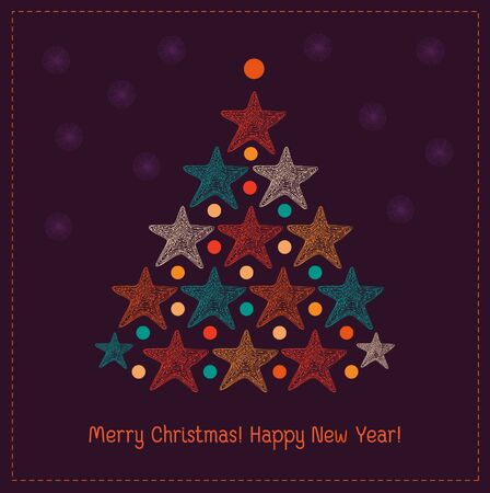 Winter decorative colorful background for design greeting card. Illustration of Christmas tree with stars Vector