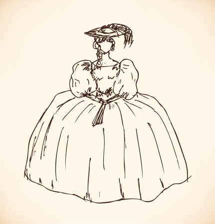 Sketch of woman in historical ball dress. Lady in vintage dress with puffed sleeves and skirt and with fan. Hand drawn baroque woman silhouette Illustration