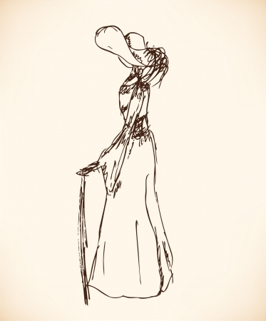 victorian fashion: Sketch of woman in retro clothes. Lady in vintage dress. Hand drawn modern woman silhouette