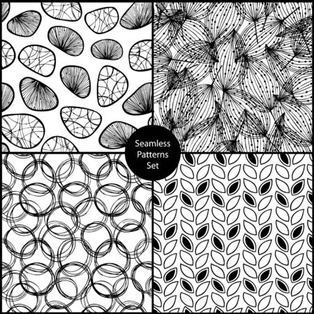 Seamless background black set. Endless patterns collection. Can use for arts, cards, textile, wallpapers, web pages. Gorgeous abstract backgrounds Stock Vector - 15662204