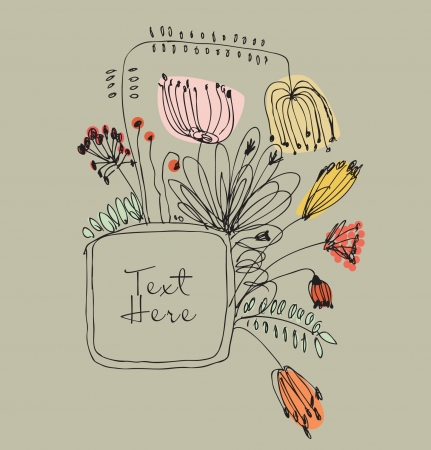 Hand drawn autumn banner with frame for your text. Vintage grunge greeting card with country flowers and berries  Vector