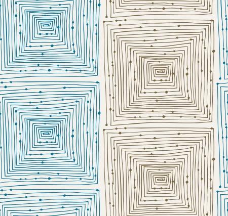 lineal: Luz patrón lineal abstracto del grunge inconsútil. Fondo sin fin con laberintos. Laberinto. Dibujado a mano textura con cuadrados y puntos Vectores