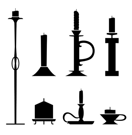 candle wick: Set of stencil candlesticks with candles. Icon collection of sconces black contour silhouettes  Illustration