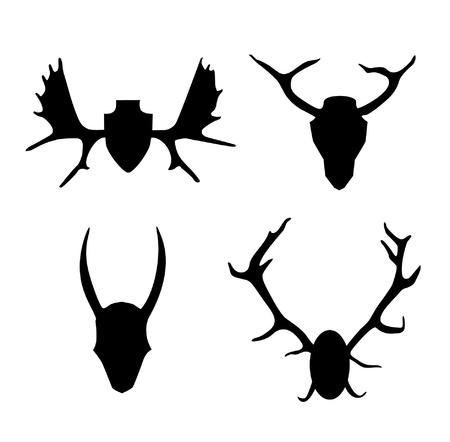оленьи рога: Набор контуров рога, оленьи рога. Иконка черные силуэты коллекции охотничьих трофеев. Интерьер украшают элемент