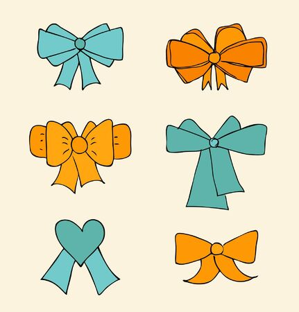 secret love: Set of bows. Collection icons of ties in bows. Decorative bright drawn elements for design cards, gifts. Scrapbooking elements