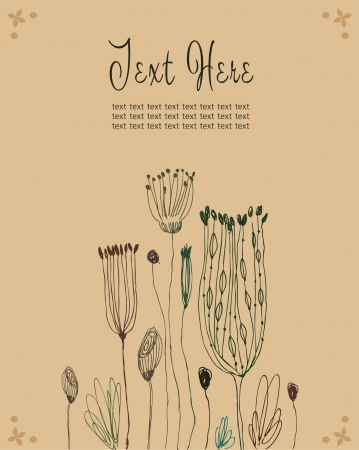 Cute hand drawn grunge banner with wild flowers and place for your text. Can be print on cards, arts, invitations, cups, bags, notebooks. Autumn country background  Vector
