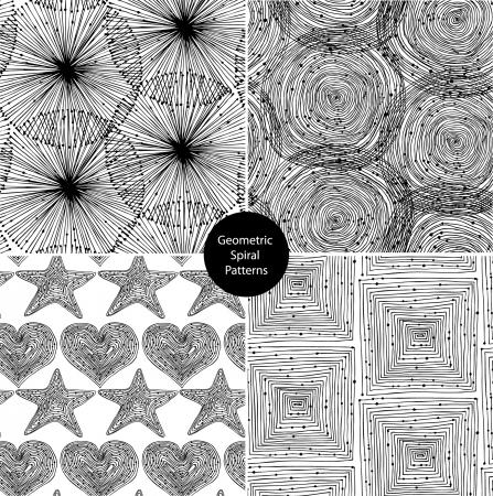 Seamless geometrical background black set Stock Vector - 15737523