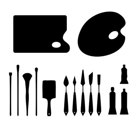 paleta de pintor: Conjunto de siluetas negras de contorno instrumentos art�sticos