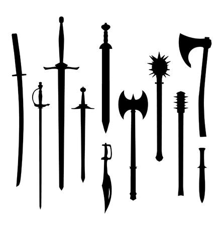 espadas medievales: Juego de vieja colección Contour armas de iconos de armas Vectores