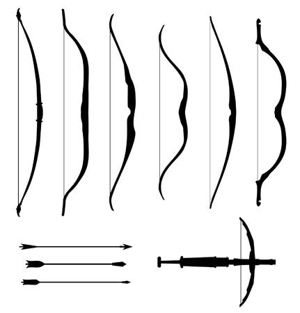 arco y flecha: Juego de vieja colección Contour arcos de iconos de armas Vectores