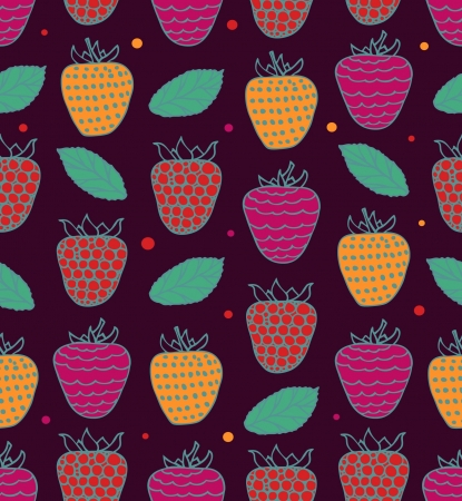 Colorful seamless floral pattern with berries. Raspberries background Stock Vector - 15768964