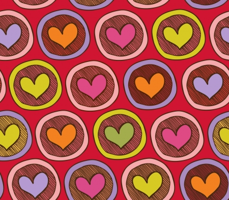 Colorful acid endless pattern with hearts in circles. Abstract background with many decorative elements. Happy childish template Stock Vector - 15768968