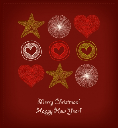 Christmas Card. Set with decorative hearts and stars. Elements for design greeting postcards, gifts, invitation  Vector