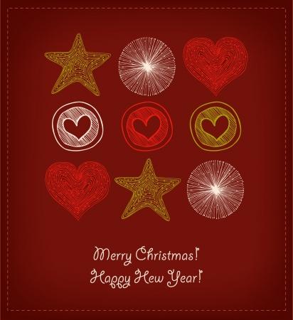 Kerstkaart. Set met decoratieve harten en sterren. Elementen voor ontwerp begroeting ansichtkaarten, geschenken, uitnodiging Stock Illustratie