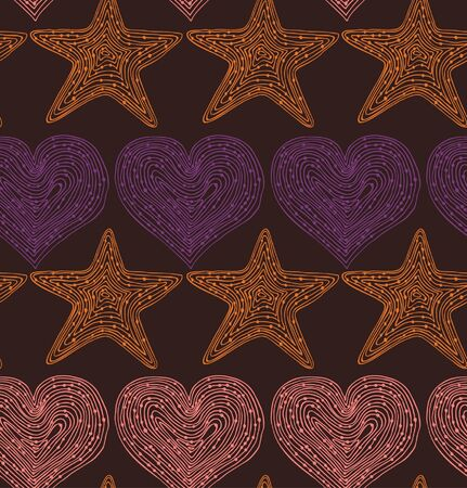 seamless pattern with hearts and stars. Hand drawn linear texture. Design template for wallpapers, textile, clothes, web pages background  Vector