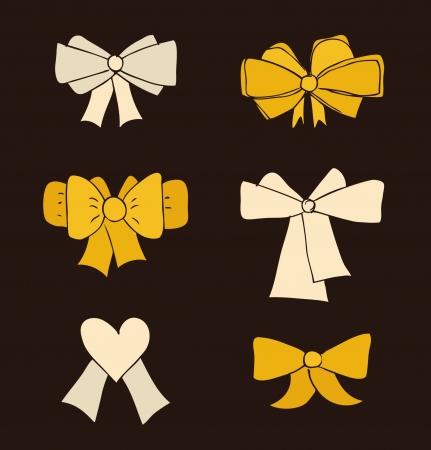 Set of bow. Collection of ties in bows. Decorative drawn elements for design  Vector