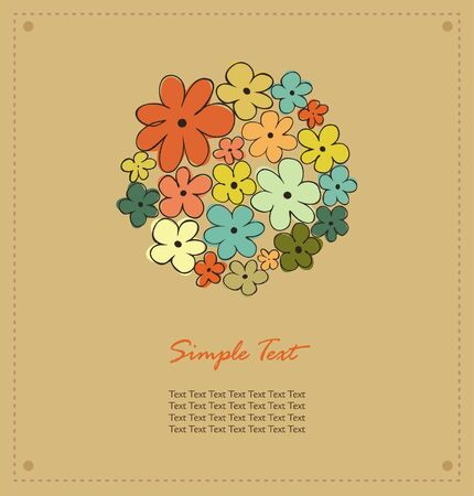 Autumn template for design with floral circle and place for your text  Vector