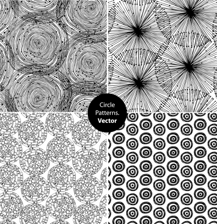 repeat structure: Seamless circle background black set. Endless patterns with round elements, dots, spirals collection. Can use for arts, cards, textile, wallpapers, web pages