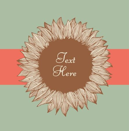 Sunflower text banner. Design floral element for cards, labels, sewing, crafts, cards, scrapbooks, setting table, flourish shop, floral store identity  Vector