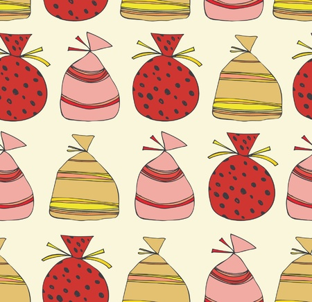 Holiday seamless pattern with sacks of gifts. Template for cartoons, crafts, surface textures, web pages backgrounds. Christmas elements for cards, arts, invitations  Vector