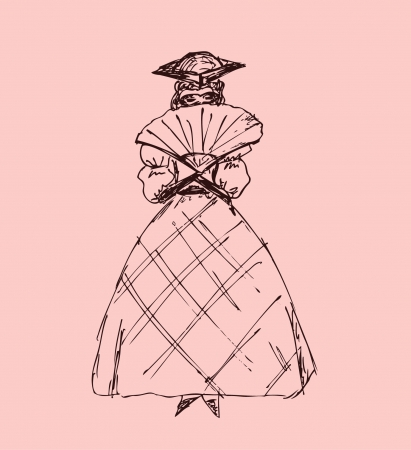 historical romance: Domino  Columbine  Sketch of woman in old carnival clothes  Artist, actor, dancer  Silhouette of lady in the theatre style  Stylish hand drawn image
