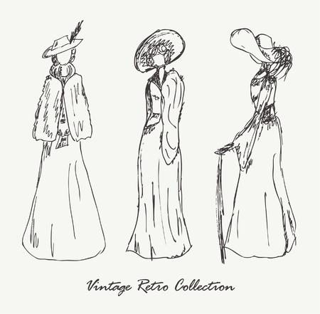 cartoline vittoriane: Set con schizzi di donne in stile retrò da donna vestiti in abiti d'epoca a mano disegnati raccolta di donne moderne, silhouette, per riviste, libri, carrelli Vettoriali