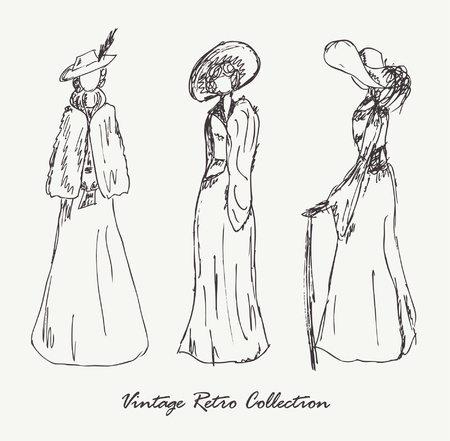victorian fashion: Set with sketches of women in retro clothes  Ladies in vintage dresses  Hand drawn collection of modern women silhouette for magazines, books, carts