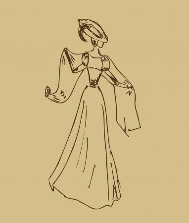 mode: Sketch of woman in retro clothes  Lady in vintage dress  Hand drawn modern woman silhouette