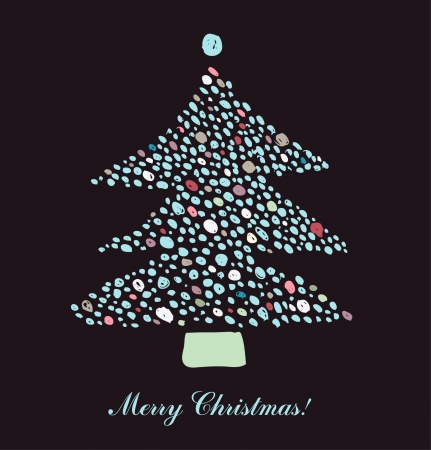 Beautiful Christmas tree illustration with many dots. Christmas Card  Vector