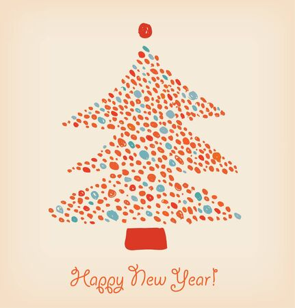 Christmas tree made of dots. Element for holiday design. Retro cute card template  Vector