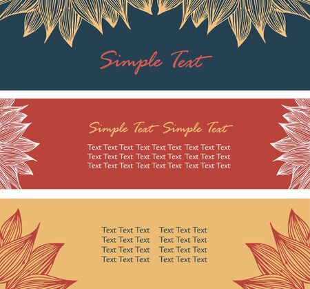 Collection of floral banners. Horizontal borders with place for text and flowers petals  Vector