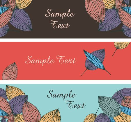 Collection of floral banners. Horizontal borders with place for text and leafs. Autumn templates for design Stock Vector - 16007905